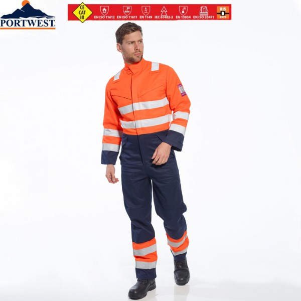 "Multinorm-Warnschutzoverall ""Modaflame""orange/marine"